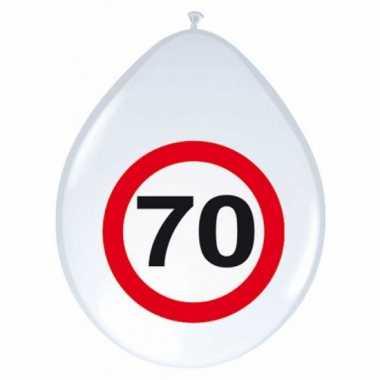 24x stuks stopbord ballonnen 70 jaar