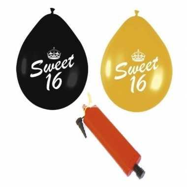 24x sweet 16 ballonnenpakket zwart en goud inclusief pomp