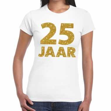 25 jaar goud glitter verjaardag/jubileum kado shirt wit dames
