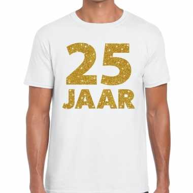 25 jaar goud glitter verjaardag/jubileum kado shirt wit heren