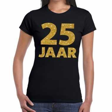 25 jaar goud glitter verjaardag/jubileum kado shirt zwart dames