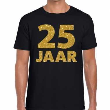 25 jaar goud glitter verjaardag/jubilieum kado shirt zwart heren