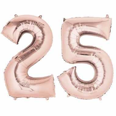 25 jaar versiering cijfer ballon rose goud verjaardag for Versiering goud