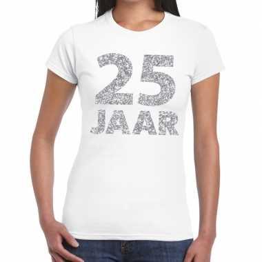 25 jaar zilver glitter verjaardag/jubileum kado shirt wit dames