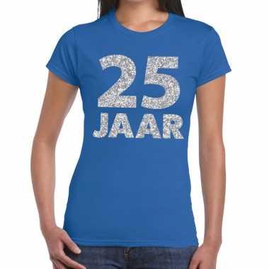 25 jaar zilver glitter verjaardag/jubileum shirt blauw dames