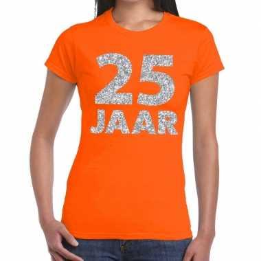 25 jaar zilver glitter verjaardag/jubileum shirt oranje dames