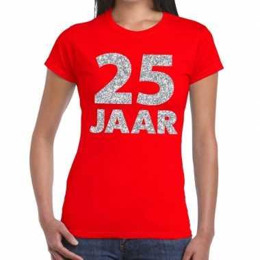 25 jaar zilver glitter verjaardag/jubileum shirt rood dames