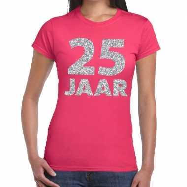 25 jaar zilver glitter verjaardag/jubileum shirt roze dame
