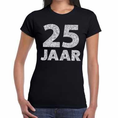25 jaar zilver glitter verjaardag/jubileum shirt zwart dames