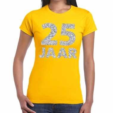 25 jaar zilver glitter verjaardag/jubilieum shirt geel dames
