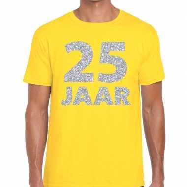 25 jaar zilver glitter verjaardag/jubilieum shirt geel heren