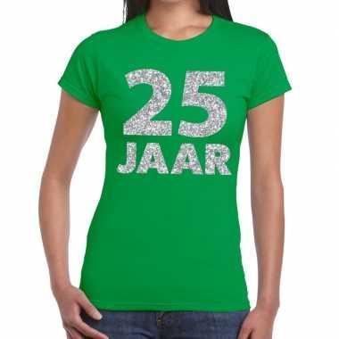 25 jaar zilver glitter verjaardag/jubilieum shirt groen dames
