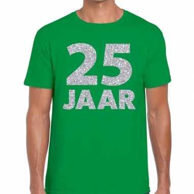 25 jaar zilver glitter verjaardag/jubilieum shirt groen heren