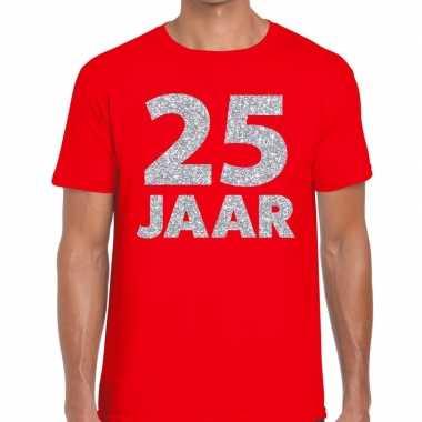 25 jaar zilver glitter verjaardag/jubilieum shirt rood heren