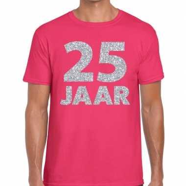 25 jaar zilver glitter verjaardag/jubilieum shirt roze heren