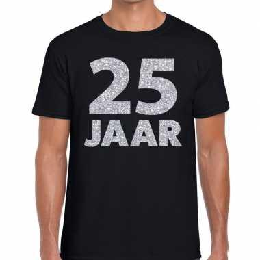 25 jaar zilver glitter verjaardag/jubilieum shirt zwart heren