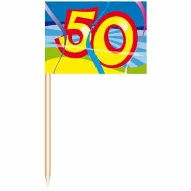 250x gekleurde cocktail prikkers 50 jaar