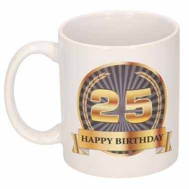 25e verjaardag cadeau beker / mok 300 ml