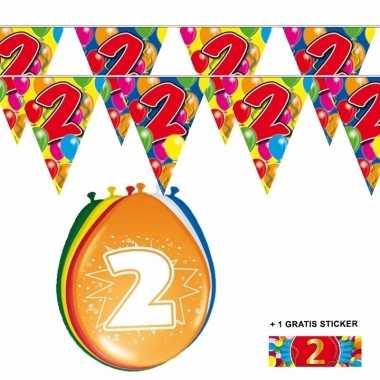 2x 2 jaar vlaggenlijn + ballonnen