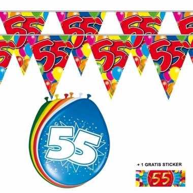2x 55 Jaar Vlaggenlijn Ballonnen Verjaardag Versiering Nl