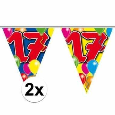 2x gekleurde vlaggenlijn 17 jaar 10 meter