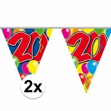 2x gekleurde vlaggenlijn 20 jaar 10 meter