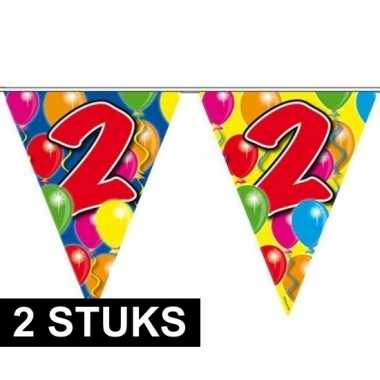 2x gekleurde vlaggenlijnen 2 jaar 10 meter