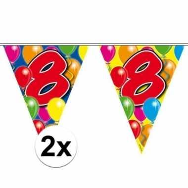 2x gekleurde vlaggenlijnen 8 jaar 10 meter