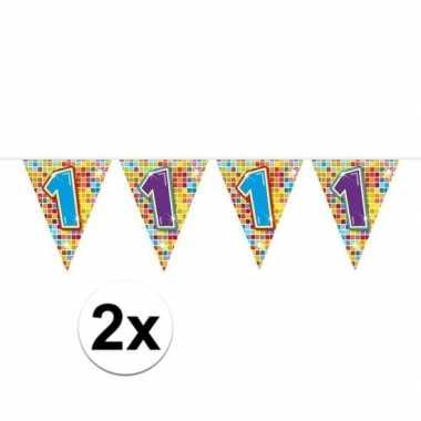 2x mini vlaggenlijn / slinger verjaardag versiering 1 jaar