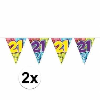 2x mini vlaggenlijn / slinger verjaardag versiering 21 jaar