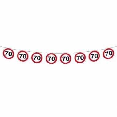 2x stuks verkeersbord slingers 70 jaar 12 meter