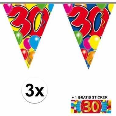 3 gekleurde slingers 30 jaar met sticker
