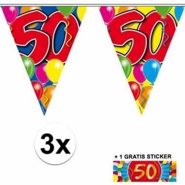 3 gekleurde slingers 50 jaar met sticker