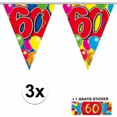 3 gekleurde slingers 60 jaar met sticker