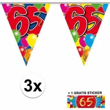 3 gekleurde slingers 65 jaar met sticker