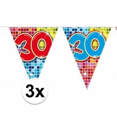 3 mini vlaggenlijn / slinger verjaardag versiering 30 jaar
