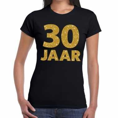 30 jaar goud glitter t-shirt zwart dames