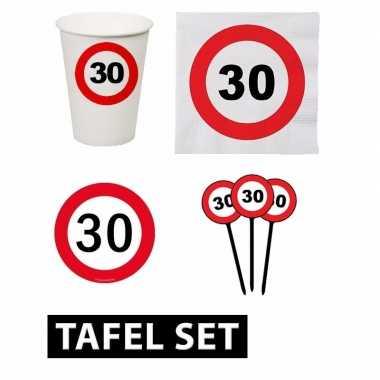 30 jaar tafel versiering pakket verkeersbord