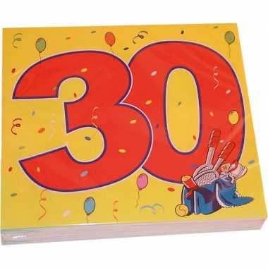 32x 30 jaar leeftijd themafeest servetten confetti 33 x 33 cm