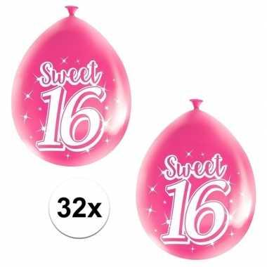 32x roze sweet 16 verjaardag ballonnen