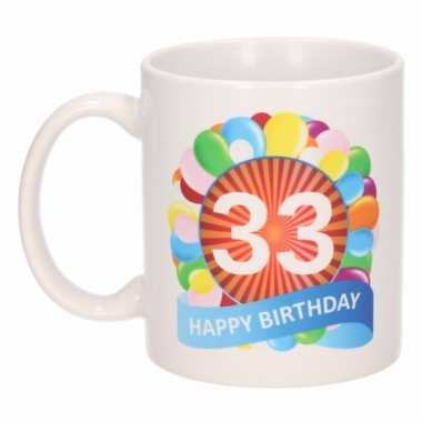 33e verjaardag cadeau beker / mok 300 ml