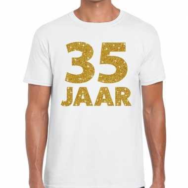 35 jaar goud glitter verjaardag/jubileum kado shirt wit heren