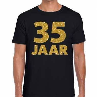 35 jaar goud glitter verjaardag/jubilieum kado shirt zwart heren
