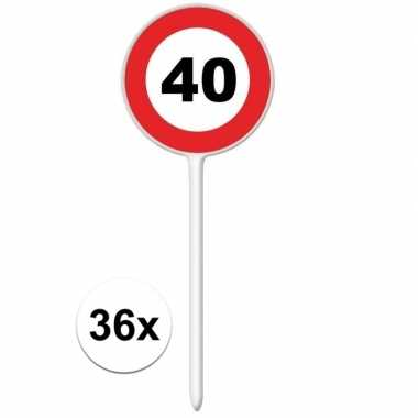 36x stopbord cocktailsticks 40 jaar