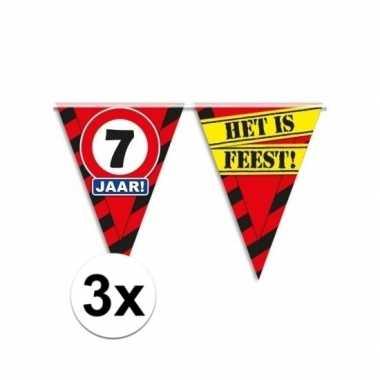 3x 7 jaar vlaggenlijn waarschuwingsbord 10mtr