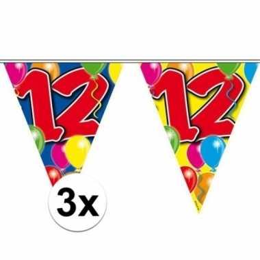 3x gekleurde vlaggenlijn 12 jaar 10 meter