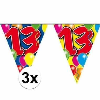 3x gekleurde vlaggenlijn 13 jaar 10 meter