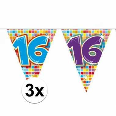 3x mini vlaggenlijn / slinger verjaardag versiering 16 jaar