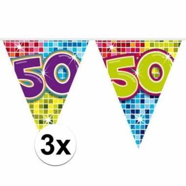 3x mini vlaggenlijn / slinger verjaardag versiering 50 jaar