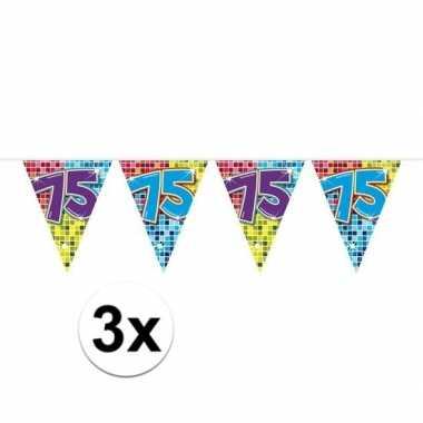 3x Mini Vlaggenlijn Slinger Verjaardag Versiering 75 Jaar